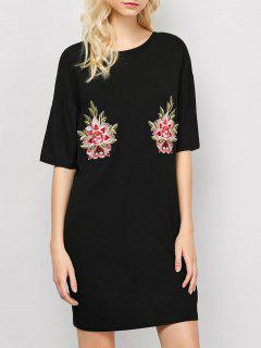 Floral Embroidered Relaxed T-Shirt Dress - Black S