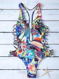 Plunge Abstract High Cut One-Piece Swimwear - Blue S