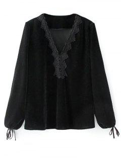Long Lantern Sleeve Velvet Blouse - Black L