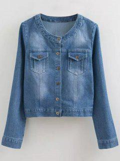 Round Neck Denim Jacket With Pockets - Denim Blue S