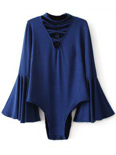 Strappy Flare Sleeve Bodysuit - Deep Blue S