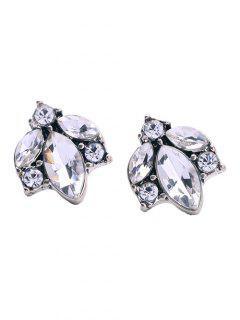Pendientes Imitación Diamantes Diseño Hoja De Árbol - Blanco