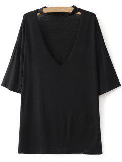T-shirt Ras Du Cou Épaule Drop Lâche  - Noir S