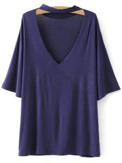 Gargantilla Caída De Hombro Tee - Violeta Azul  S