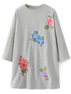 Floral Embroidered Sweatshirt Dress - Gray M