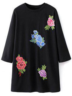 Floral Embroidered Sweatshirt Dress - Black M