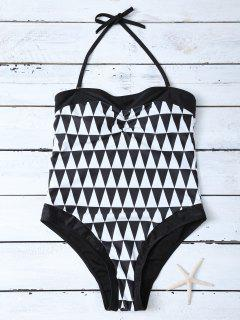 High Waisted Geometric One-Piece Swimwear - White And Black Xl