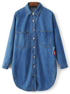 Shirt Jean Cartoon Patch  - Denim Bleu S