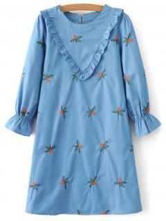 Frilled Chevron Pattern Tunic Dress - Blue M