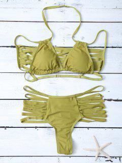 Bikini Ensemble Bandeau Découpé Avec Ficelles - Vert Xl