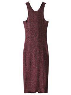 Glitter Midi Pencil Dress - Claret M