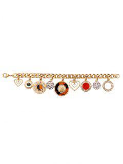 Rhinestone Circle Heart Charm Bracelet - Golden