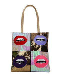 Color Block Sequins Lip Pattern Shoulder Bag - Golden