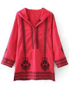 Totem Embroidered Hooded Tunic Dress - Red S