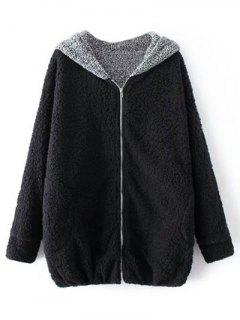 Cartoon Hooded Zipper Sherpa Coat - Black