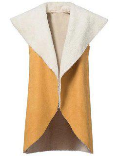 Faux Shearling Shawl Collar Waistcoat - Yellow S