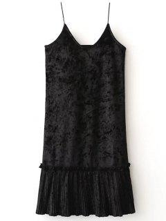 Pleuche Vestido Plisado Cami - Negro