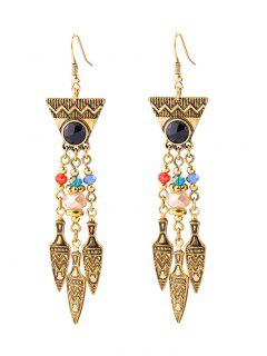 Geometric Faux Gem Drop Earrings - Golden