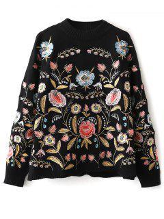 Floral Suéter Bordado - Negro