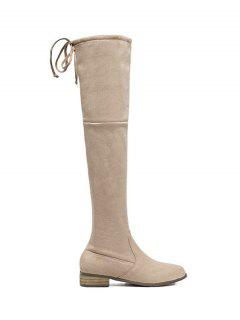 Flat Heel Zip Tie Up Thigh Boots - Apricot 38