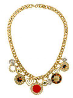 Rhinestone Heart Circle Charm Necklace - Golden