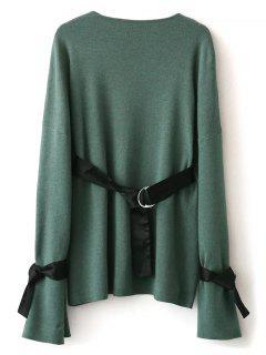 Round Neck Belted Knitwear - Green