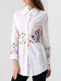 Chemise Brodée Longue  - Blanc S