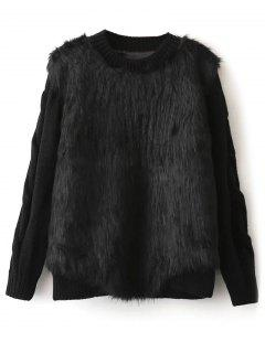 Faux Fur Cable Knit Sweater - Black