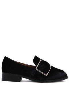 Belt Buckle Square Toe Velvet Flat Shoes - Black 37