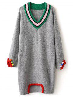 Fuzzy Cricket Sweater Dress - Gray