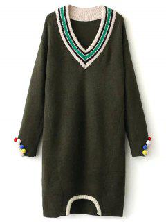 Fuzzy Cricket Sweater Dress - Army Green
