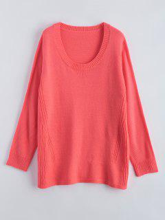 Scoop Neck Swing Sweater - Watermelon Red