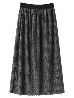 Maxi Jupe Plissée Taille élastique  - Gris