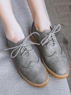 Wingtip Round Toe Tie Up Flat Shoes - Gray 38