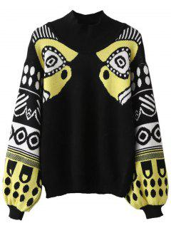 Lantern Sleeve Patterned Sweater - Black
