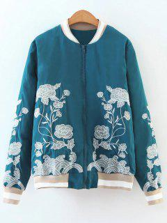 Zipper Floral Embroidered Bomber Jacket - Lake Blue S