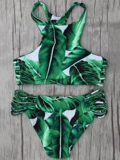 Leaf Print High Neck String Bikini Set - Green L