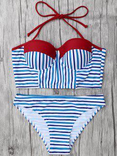 Striped Color Block Underwire Bikini - Stripe M
