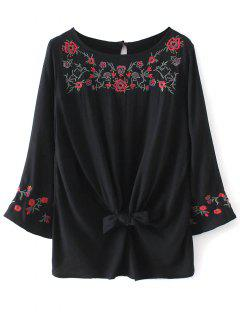 Floral Embroidered Knotted Blouse - Black S