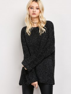 Heathered Round Neck Tunic Sweater - Black