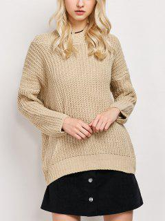 High Low Hooded Tunic Sweater - Palomino