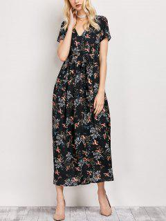 Tiny Floral V Neck Maxi Dress - Black Xs