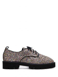 Sequined Lace Up Glitter Flat Shoes - Golden 37