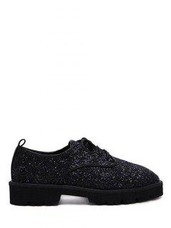 Sequined Lace Up Glitter Flat Shoes - Black 38