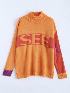 Pull Imprimé « See U » à Col Cheminée - Orange