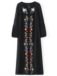 Floral Embroidered Tunic Midi Dress - Black S