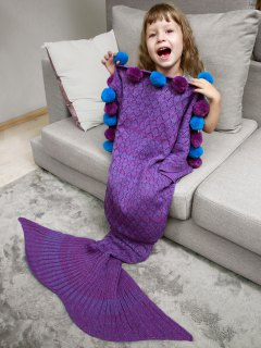 Openwork Pineapple Crochet Kids' Mermaid Blanket Throw - Purple