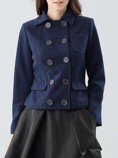 Veste à Double Boutonnage Avec Poches - Bleu Violet S