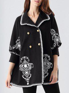 Three Quarter Sleeve Embroidered Swing Coat - Black S