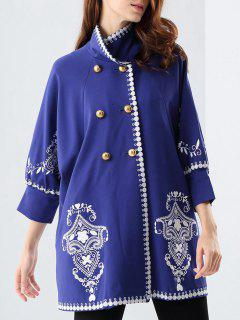 Three Quarter Sleeve Embroidered Swing Coat - Blue S